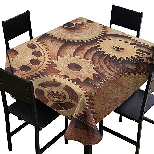 OUTDRART Rectangle Table Cover ClothIndustrial,Inside The Clocks Theme Gears Mechanical Copper Device in Steampunk Style Print,Cinnamon,W50 x L50 for Party ()