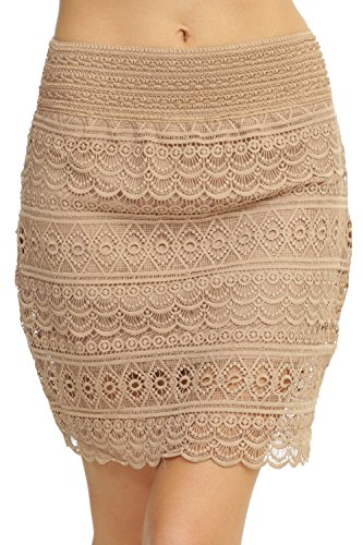 ToBeInStyle Women's Lace Scalloped Knit Skirt - Taupe - Small