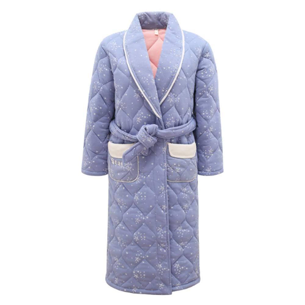 NAN Liang Women's Robe 100% Terry Cotton Bathrobe Luxury Nightgown Thicken Warm Robe Home Clothing (Size   XXXXL)