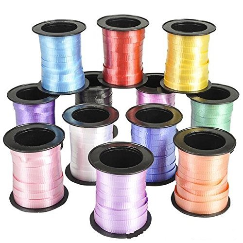 Curling Ribbon - Colorful Assorted- 12 Pack- For Florist, Flowers, Arts & Crafts, Gift Wrapping, Hair, School, Girls, Etc. - Kidsco