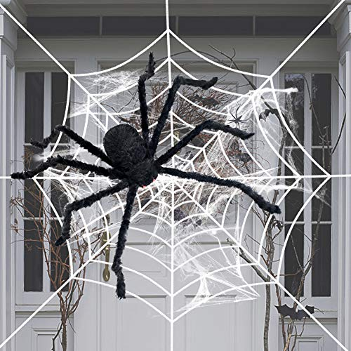 Scary Halloween 5 Ft. 150cm Giant Spider Outdoor Decor Yard Decorations Fake Large Hairy Spider Props Black -