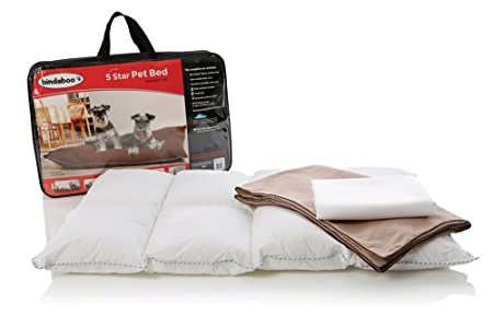 Bindaboo 5 Star Pet Bed, Sandstone with Chocolate Piping