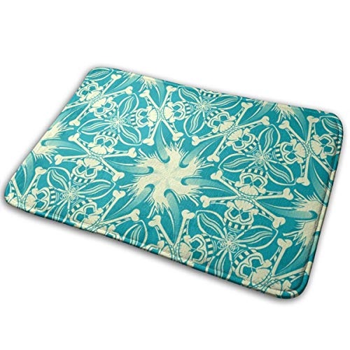 Pirate Skull Geometric Pattern Teal Blue Bath Mat Non Slip Absorbent Super Cozy Bathroom Rug Decor Rug 15.7
