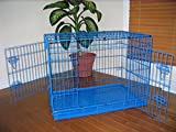 Large 42″ Folding Pet Dog Cat Crate Cage Kennel With Plastic Tray *Blue* Review