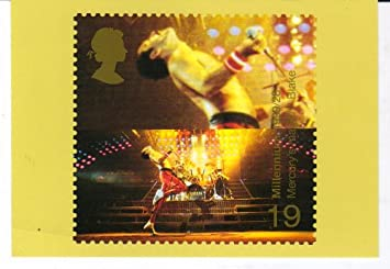 Freddie Mercury stamp design postcard
