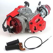 Wingsmoto 49cc 52cc Big Bore Pocket Bike Engine with Performance Cylinder CNC Engine Cover Racing Carburetor DIY Engine (Engine + Handle Bar + Throttle Cable)