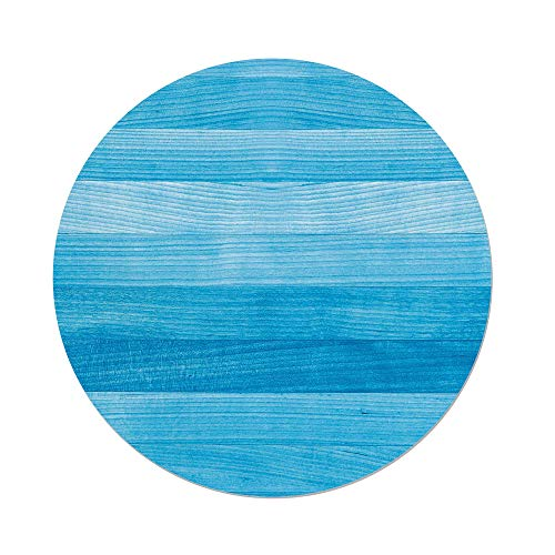 Polyester Round Tablecloth,Light Blue,Wooden Planks Painted Texture Image Oak Tree Surface Maple Pine Board Stripes Decorative,Light Blue,Dining Room Kitchen Picnic Table Cloth Cover Outdoor Indo