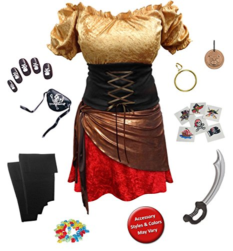 Deluxe Pirate Wench Costumes (Pirate Wench Plus Size Supersize Halloween Costume Deluxe Kit 2x)
