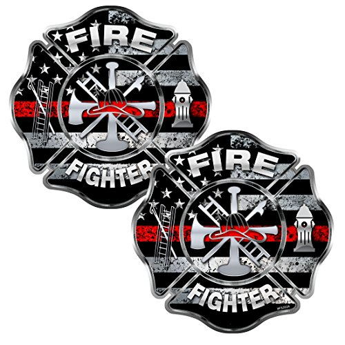 - Firefighter Thin Red Line 2 pack Stickers - #FS2024 - Fire Fighter Usa Decal Car Truck Laptop Bumper Windshield Window Memorial American Remember Maltese Cross Aiff For Adults Honor Emt