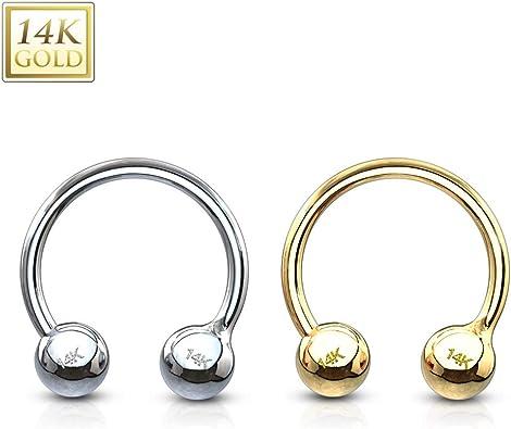 Echt Gold 585 14 Karat Barbell Zungenpiercing Ohr Intim Brustwarzenpiercing