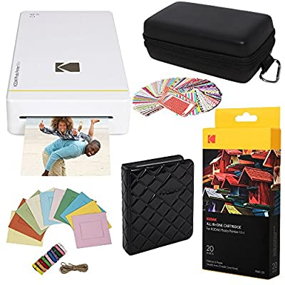"""Kodak Mini Portable Mobile Photo Printer - Wi-Fi & NFC Compatible - Prints 2.1 x 3.4"""" Images, Advanced DyeSub Printing Technology (Black) Compatible with Android & iOS"""