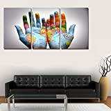 LJ&L The world map on the palm of your hand, inkjet print canvas painting, home living room bedroom wall decoration 3 pieces painting, modern minimalist style painting,3pcs,15.723.6inch