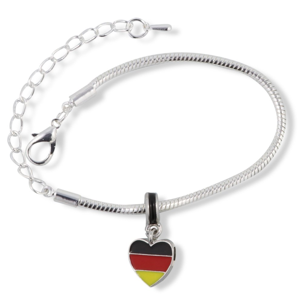German Flag on Heart Snake Chain Charm Bracelet