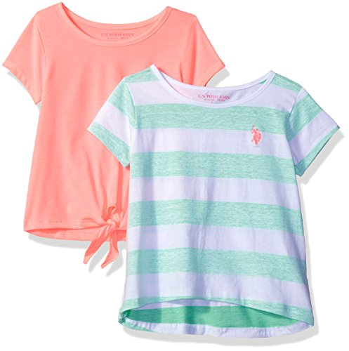 Multi Striped Polo Shirt - U.S. Polo Assn. Girls' Little 2 Pack Crew Neck T-Shirts, 1 Solid and 1 Striped, Multi, 4