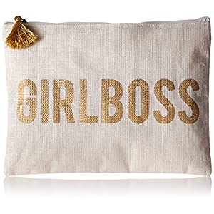 Mud Pie Jute Girl Boss Make up Bag Carry Case