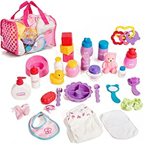 51kq1mY6tPL. SS300  - Mommy & Me Baby Doll Care Set - with 30 Accessories in Bag