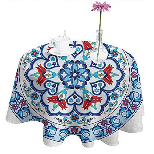 Brick Vinyl Ottoman - DouglasHill Antique Washable Tablecloth Ottoman Turkish Style Art with Tulip Period Ceramic Floral Elements European Print Dinner Picnic Home Decor D40 Inch Multicolor