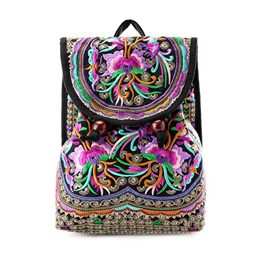 28e1ea43e5 Mazexy Handmade Embroidered Backpack Ethnic Style Vintage Printed