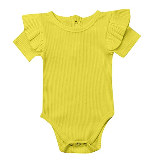 63d8e014e450 Image Unavailable. Image not available for. Color  Baby Shirt Solid Romper  - GorNorriss Newborn Solid Short Sleeve Bodysuit Outfits Clothes Summer  Yellow