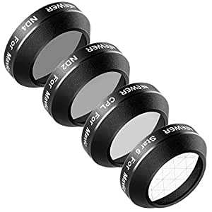 Neewer Multi-coated 4 Pieces Filter Kit for DJI Mavic Pro Drone Quadcopter Includes: CPL, ND2, ND4 and 6-Point Star Filter, Made of Ultra High Definition Glass and Aluminum Thread Frame