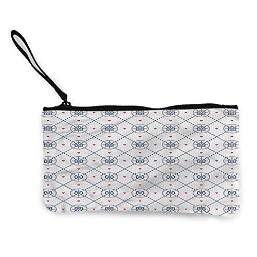 (Zip Mini Wallet Ships Wheel,Diamond Shape Pattern,Canvas Pencil Pen Case W 8.5
