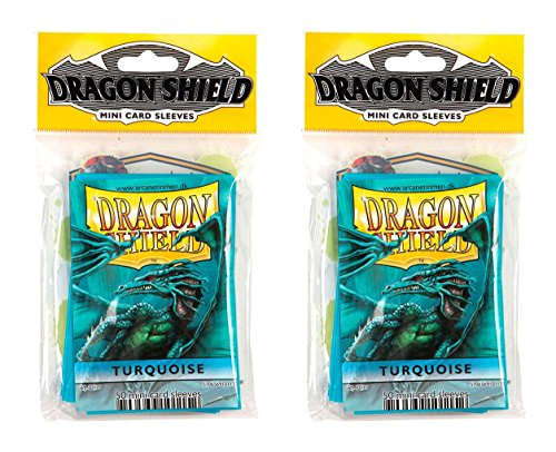 Dragon Shield Bundle: 2 Packs of 50 Count Japanese Size Mini Card Sleeves - Turquoise Color by Dragon Shield