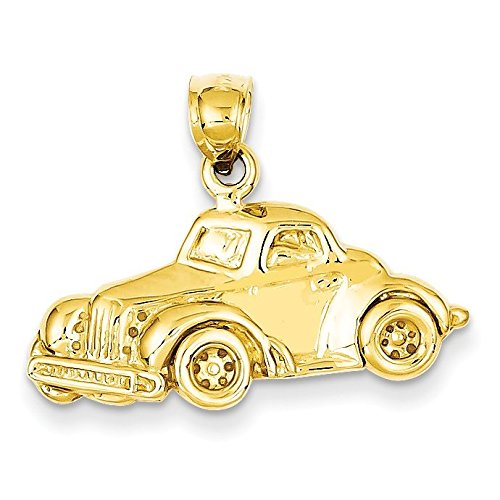 14K Yellow Gold Classic Antique Car Pendant - (0.79 in x 0.98 in) - Jewel Tone Antique Cars