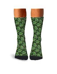 Men's Black Background Green Cannabis compression sweat-absorbent slipper socks hiking fit calf socks
