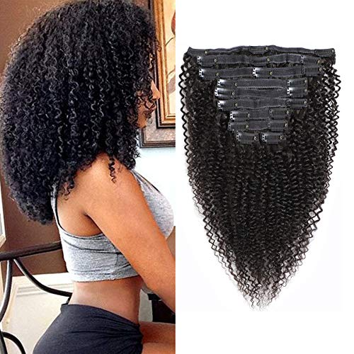 Rolisy Kinkys Curly Clip in Hair Extensions Afro 3C 4A Kinky Curly Clip ins Real 8A Brazilian Remy Hair for Black Women Double Lace Wefts Hair,Natural Black Color,10 Pcs,120 Gram,18 Inch (Brazilian Kinky Curly Clip In Hair Extensions)