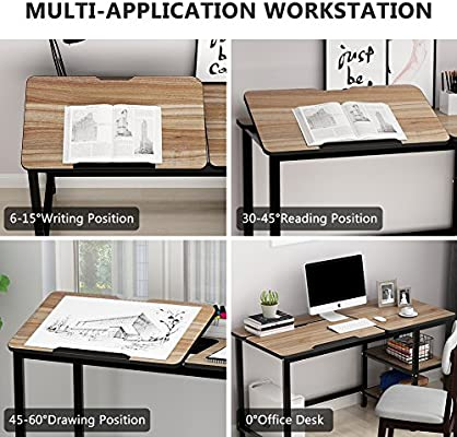 Drafting Table with Adjustable Stand Table Board /& 2Tier Shelves 55/'/'L x 23.6/'/'W