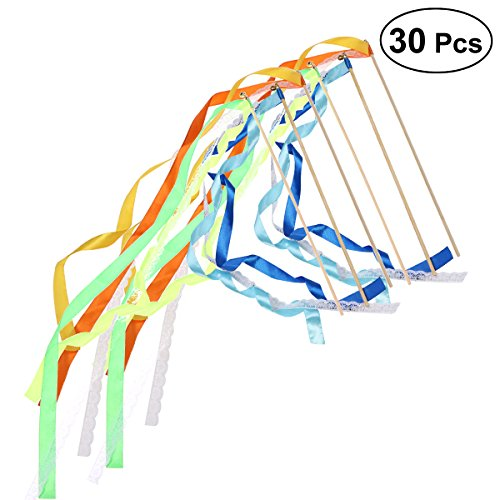 ULTNICE 30Pcs Wands Ribbon Streamers Fairy Stick with Bell Lace Party Wedding Favors Supplies (Assorted Colors) ()