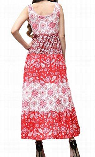 Floral Manches Domple Des Femmes D'été Évasé Robe Maxi Plage Flowy Sundress Rouge