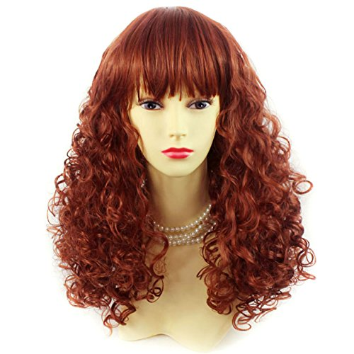 Lovely Summer Style Medium Curly Red Skin Top Ladies Wig by Wiwigs (Red 130 Wig)