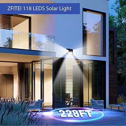 Upgraded Solar Lights Outdoor,118 LED Solar Motion Sensor Security Lights, 3 Lighting Modes 270°Wide Angle Outdoor Wall Lights for Garden Fence Door Yard Garage Pathway(4 Pack)