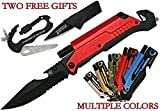 Rescue Survival Knife - Grizzly Bone 6-in-1 Survival Folding Knife Kit with LED Light - Blue