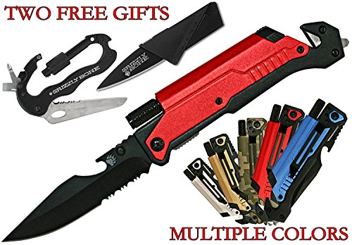 Grizzly Bone 6-in-1 Folding Survival Knife Kit with LED Light Bottle Opener, Camo