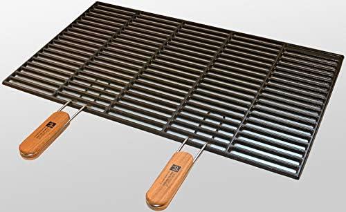 Parrilla de hierro fundido 60 x 40 cm Con Asas extraíbles ...