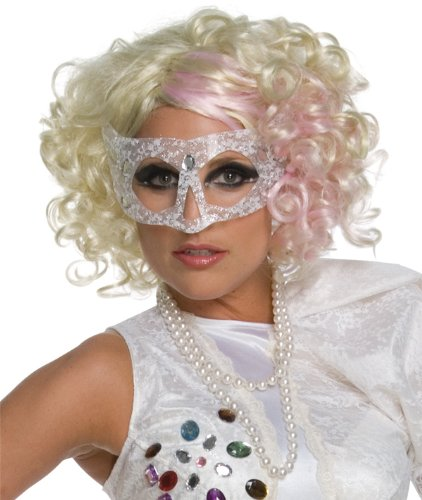 Lady Gaga Curly Hair Wig With Pink Streak,Blonde,One (Lady Gaga Curly Blonde With Pink Wig)