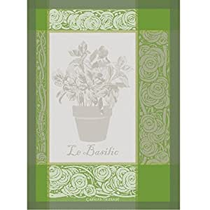 Garnier-Thiebaut Basilic (Basil) Vert (Green) Woven Kitchen / Tea Towel, 100 Percent Cotton