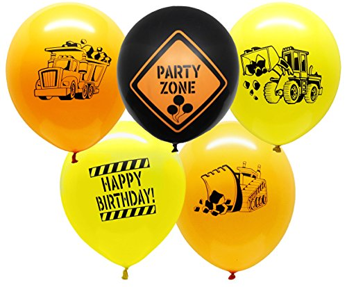 Construction Party Supplies - 25 Construction Themed Balloons - 12'' Construction Zone Party Balloons - Perfect for Builder Themed Parties! by Jade's Party Packs