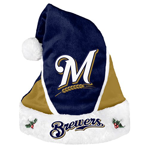 Forever Collectibles MLB Milwaukee Brewers Santa Hat, Team Colors, One Size - Milwaukee Brewers Santa