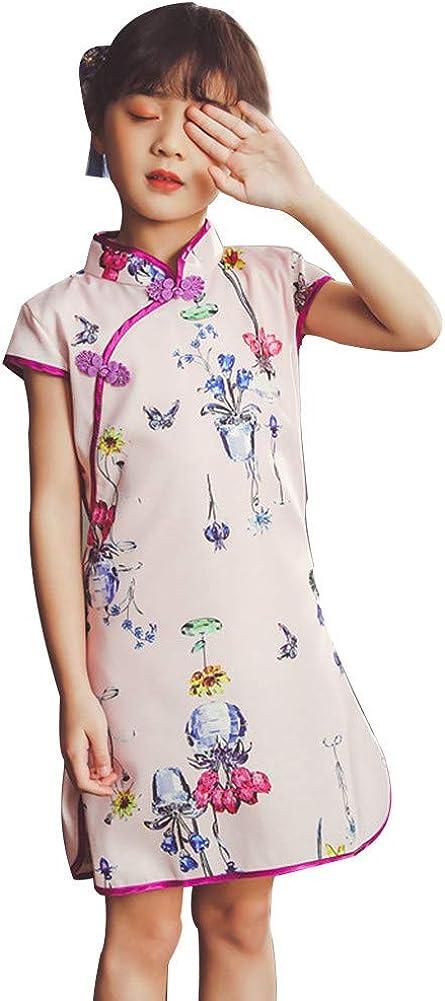 4 Year-12 Year GFTA Childrens Short Sleeve Chinese Style Flower Print Cheongsam Dress,