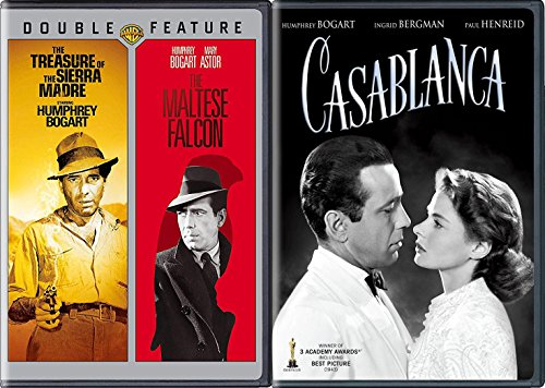 Humphrey Bogart Movie Collection Casablanca & Maltese Falcon + The Treasure of The Sierra Madre Triple Film Pack Classics 70th Anniversary