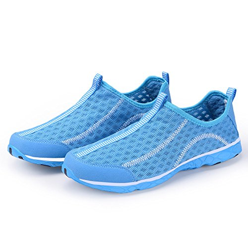 KALEIDO Herren Atmungsaktives Mesh Slip On Walking Casual Wasserschuhe Blau2