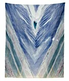 Lunarable Marble Tapestry Twin Size, Onyx Stone Tribal Style with Color Elements Agate Authentic Pattern, Wall Hanging Bedspread Bed Cover Wall Decor, 68 W X 88 L inches, Teal Dark Blue Pale Grey