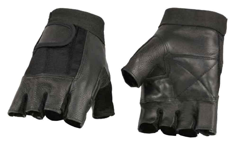 Milwaukee-Leather-Mens-Leather-Mesh-Combo-Fingerless-Gloves-Black-SH217