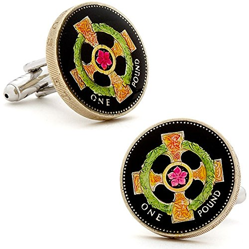Ox and Bull Trading Co. Hand Painted Irish Cross Coin Cufflinks