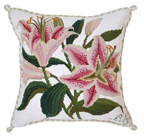 - Lily Needlepoint Kit by Elizabeth Bradley. A premium English needlepoint pillow project on a Winter White background with 100% wool yarns. Botanical Garden Collection.