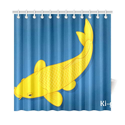 Home Decor Bath Curtains for Kids V Image Fancy Carp Koi Varieties Polyester Fabric Waterproof Bathroom Curtain Window for Bathroom 7272 Inch with Hooks ()