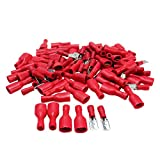 100x European Male & Female Insulated Spade Quick Wire Crimp Connectors 22-16AWG